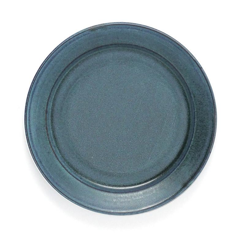 秋谷茂郎 リム皿 8寸 青彩