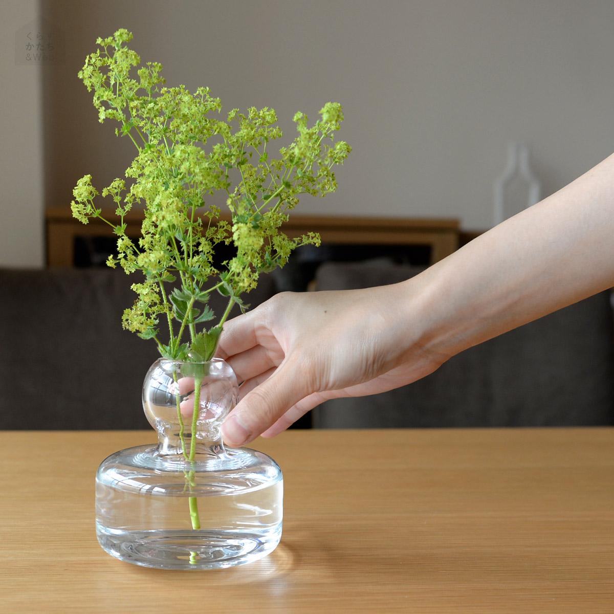 マリメッコ marimekko 花瓶 フラワーベース クリア 北欧 フィンランド 手吹きガラス